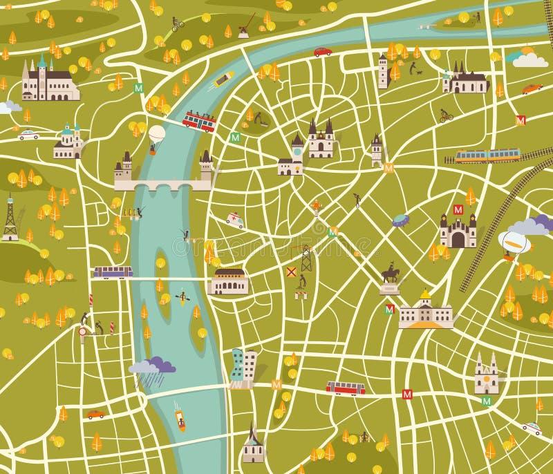 Kaart van Praag royalty-vrije illustratie
