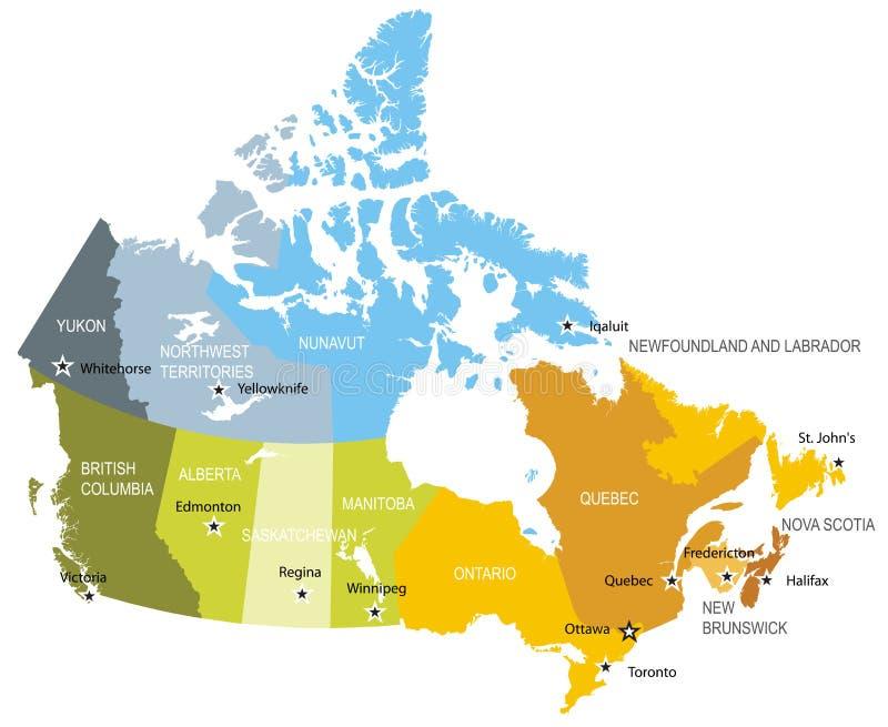 Kaart van provincies en gebieden van Canada stock illustratie