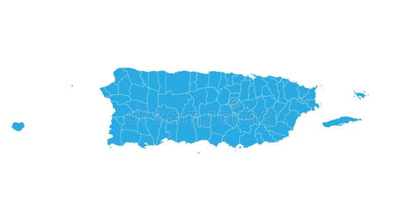 Kaart van Puerto Rico Hoog gedetailleerde vectorkaart - Puerto Rico vector illustratie