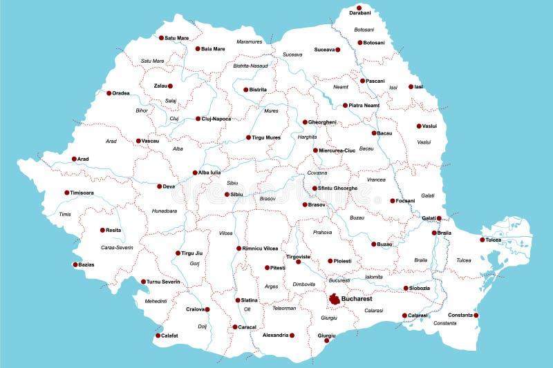 Kaart van Roemenië stock illustratie