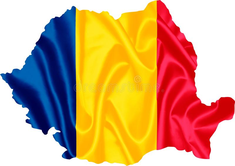 Kaart van Roemenië met vlag vector illustratie