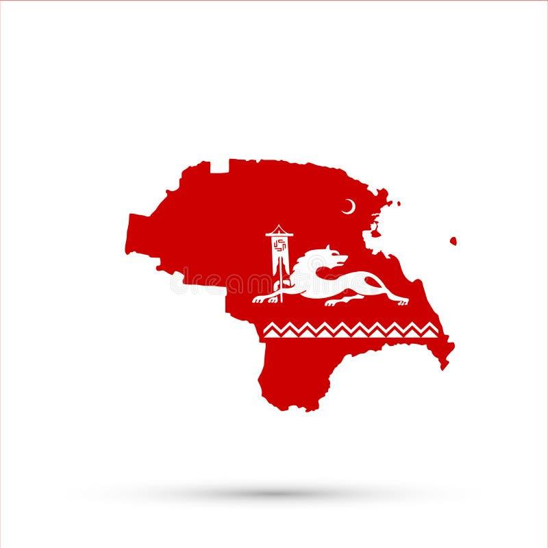 Kaart van Rusland van het Nogais de etnische grondgebied in etnische de vlagkleuren van Avars, editable vector royalty-vrije illustratie