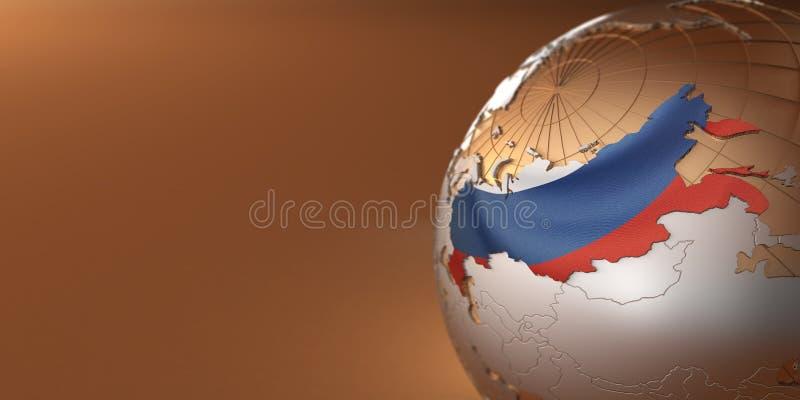 Kaart van Rusland ter wereld royalty-vrije illustratie