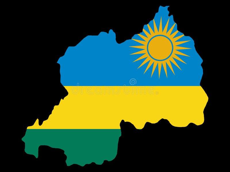 Kaart van Rwanda stock illustratie
