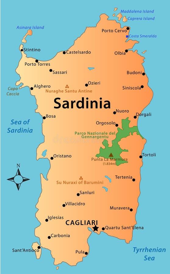 Kaart van Sardinige royalty-vrije stock afbeelding