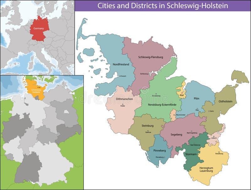 kaart van sleeswijk holstein vector illustratie illustratie bestaande uit europa kiel 74988289. Black Bedroom Furniture Sets. Home Design Ideas