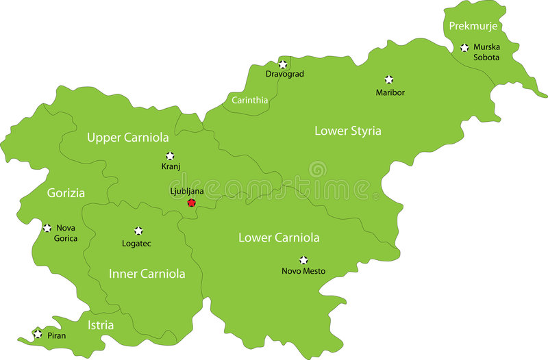 Kaart van Slovenië vector illustratie