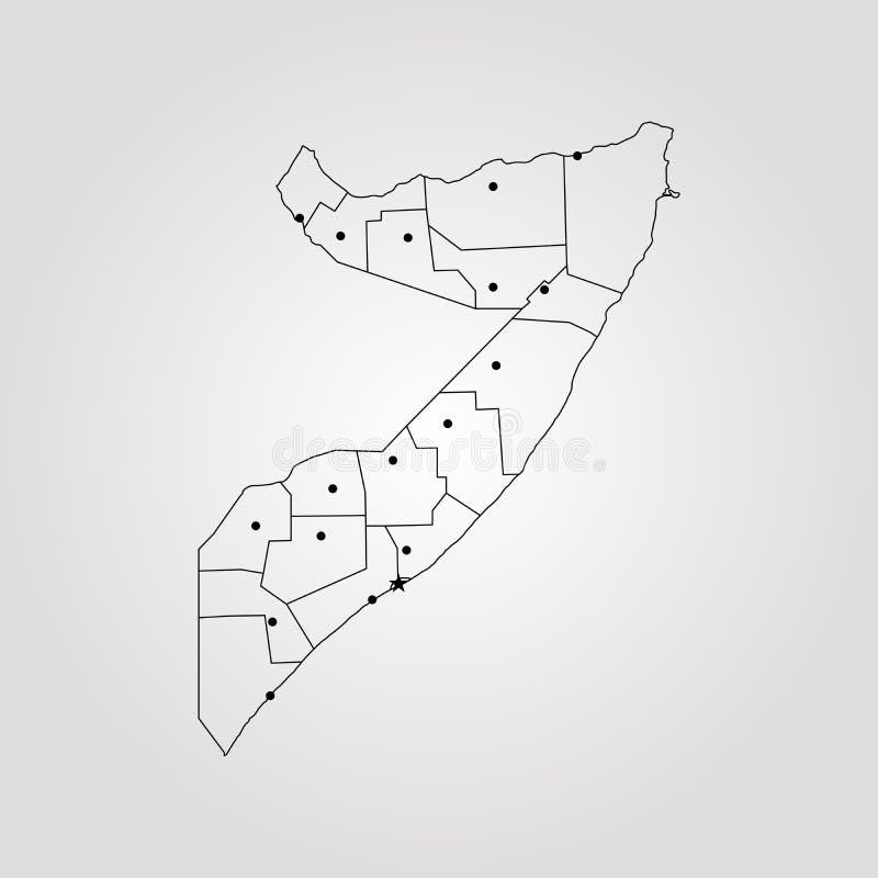 Kaart van Somalië vector illustratie