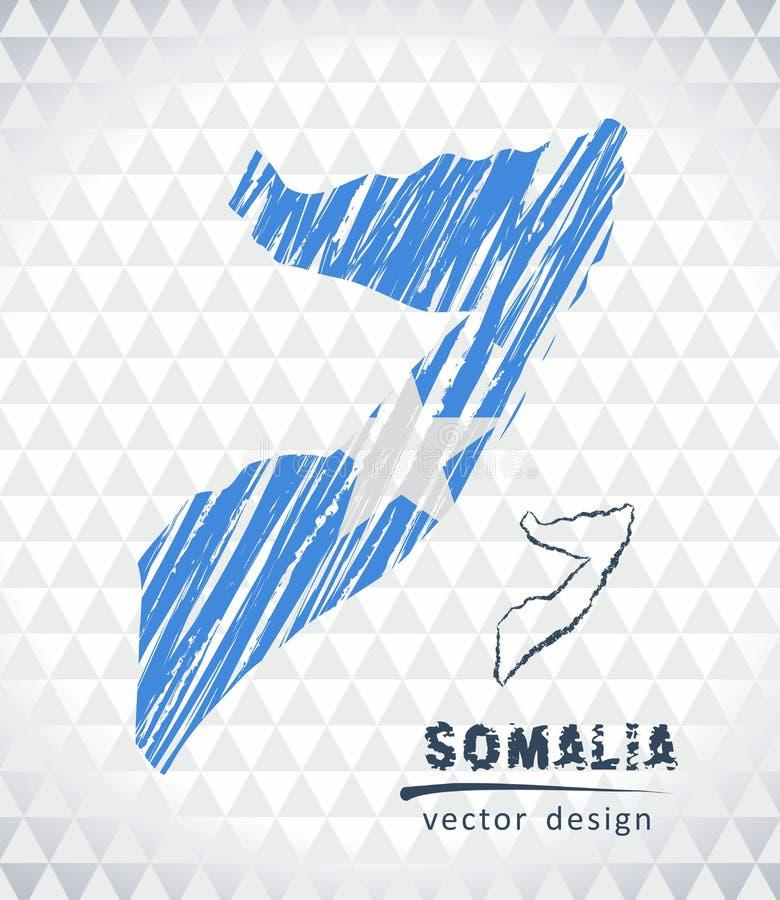 Kaart van Somalië met de hand getrokken binnen kaart van de schetspen Vector illustratie royalty-vrije illustratie