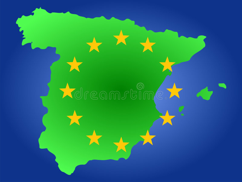 Kaart van Spanje stock illustratie