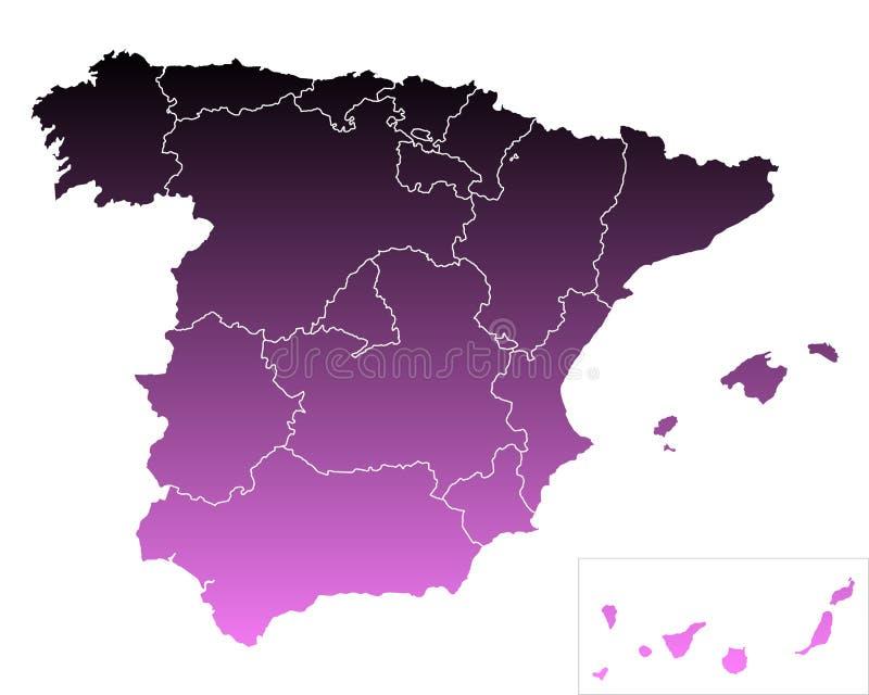 Kaart van Spanje vector illustratie