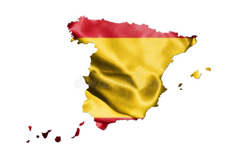 Kaart van Spanje met Spaanse die Vlag op het op Witte Backgroun wordt geïsoleerd royalty-vrije illustratie