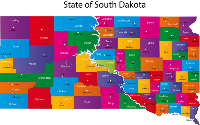 Kaart van staat de Zuid- van Dakota royalty-vrije illustratie