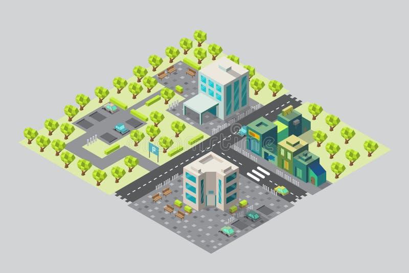 Kaart van stadsbureaus en winkels in isometrisch royalty-vrije illustratie