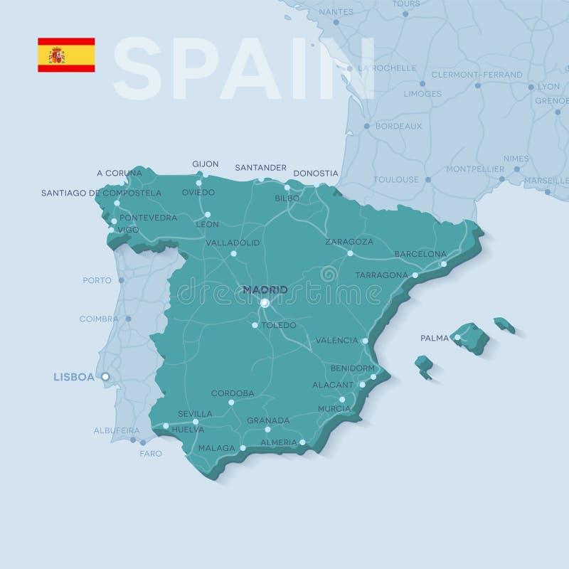 Kaart van steden en wegen in Spanje royalty-vrije illustratie