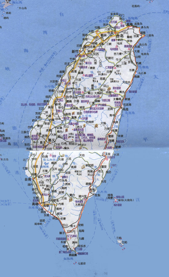 Kaart van Taiwan royalty-vrije stock foto's