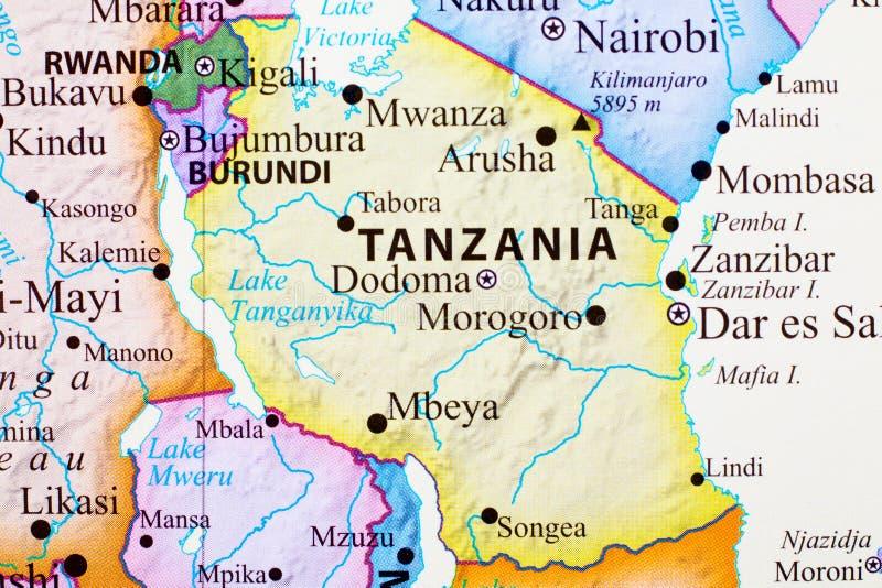 Kaart van Tanzania royalty-vrije illustratie