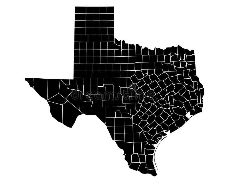 Kaart van Texas vector illustratie