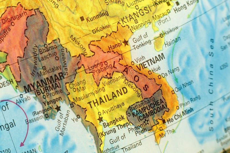 Kaart van Thailand, Vietnam en Laos Het beeld van de close-up royalty-vrije stock afbeeldingen