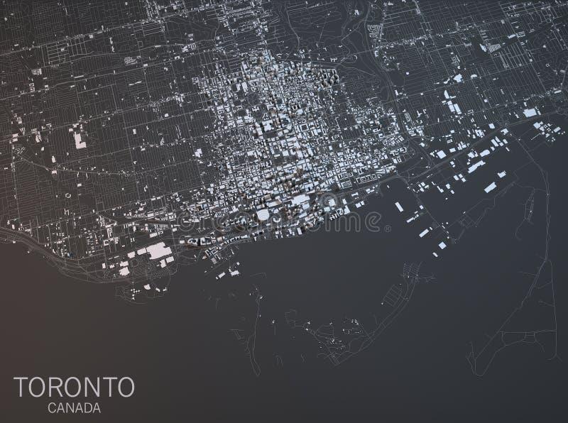 Kaart van Toronto, satellietmening, stad, Ontario, Canada stock illustratie