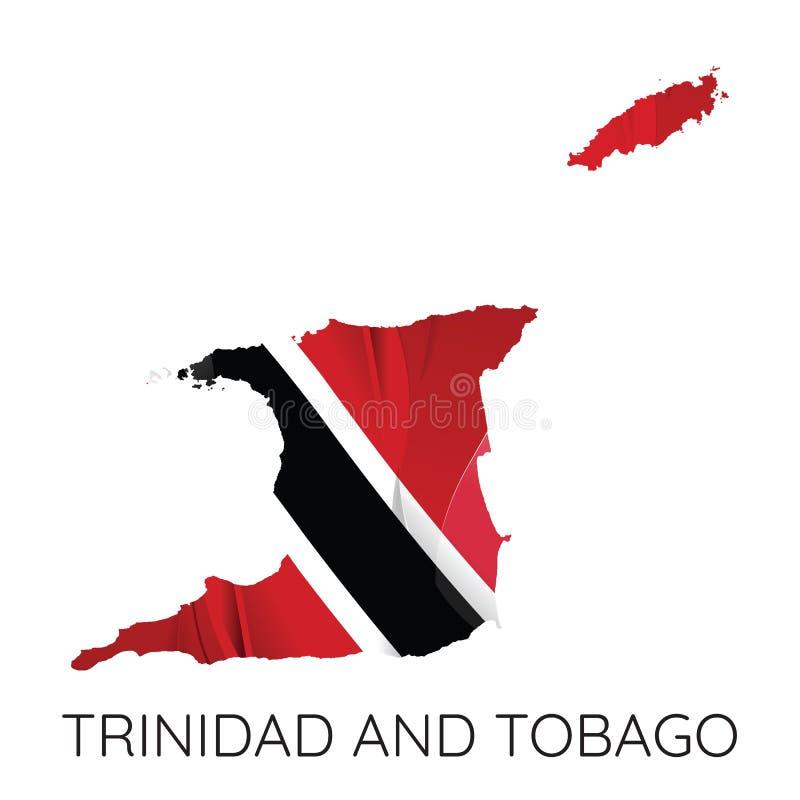 Kaart van Trinidad en Tobago royalty-vrije illustratie