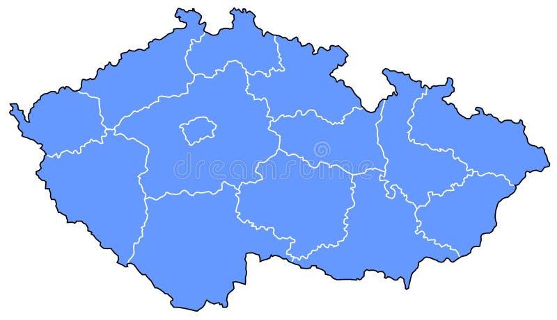 Kaart van Tsjechische Republiek stock illustratie