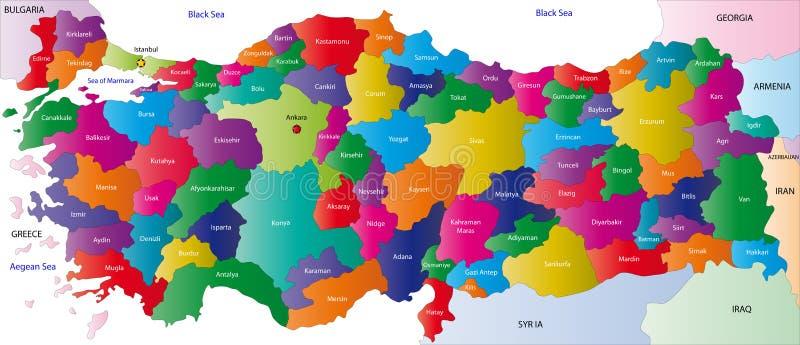 Kaart van Turkije royalty-vrije illustratie
