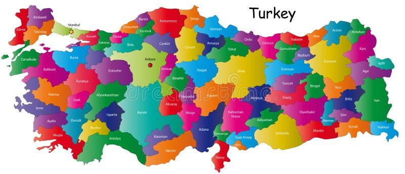 Kaart van Turkije vector illustratie