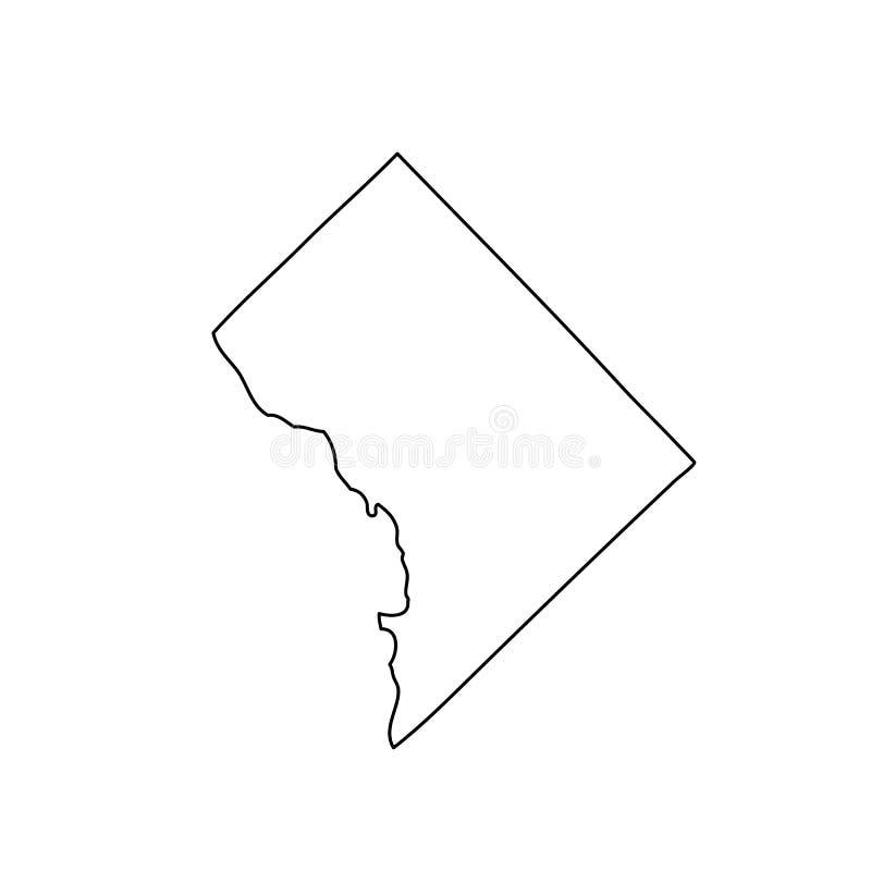 Kaart van U S District van Colombia vector illustratie