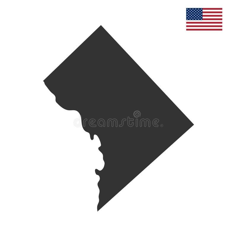 Kaart van U S District van Colombia stock illustratie