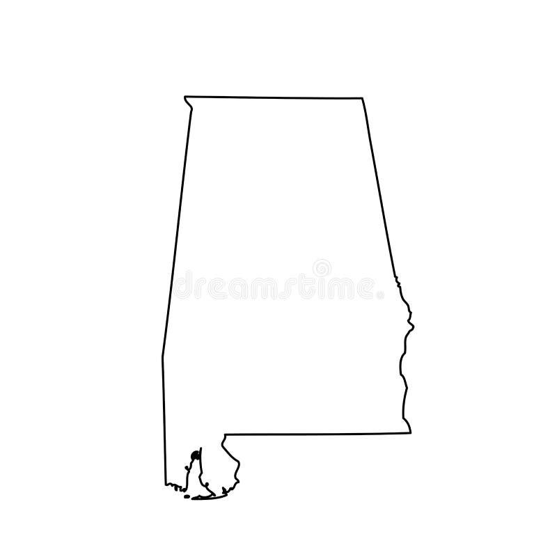 Kaart van U S staat Alabama royalty-vrije illustratie