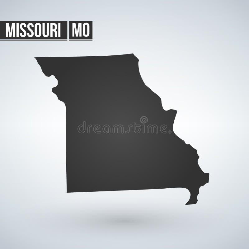 Kaart van U S staat van de vectorillustratie van Missouri vector illustratie