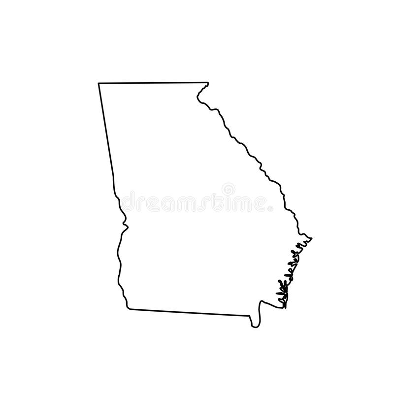 Kaart van U S staat Georgië royalty-vrije illustratie