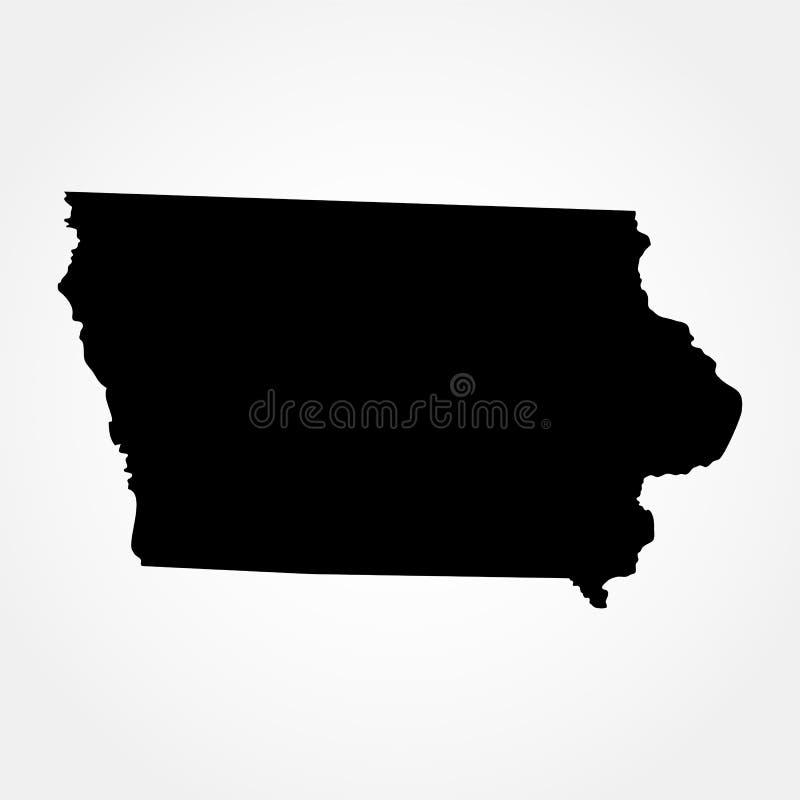 Kaart van U S Staat van Iowa stock illustratie