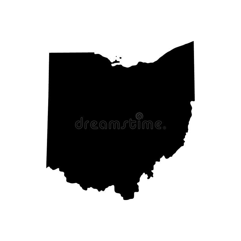 Kaart van U S Staat van Ohio royalty-vrije illustratie