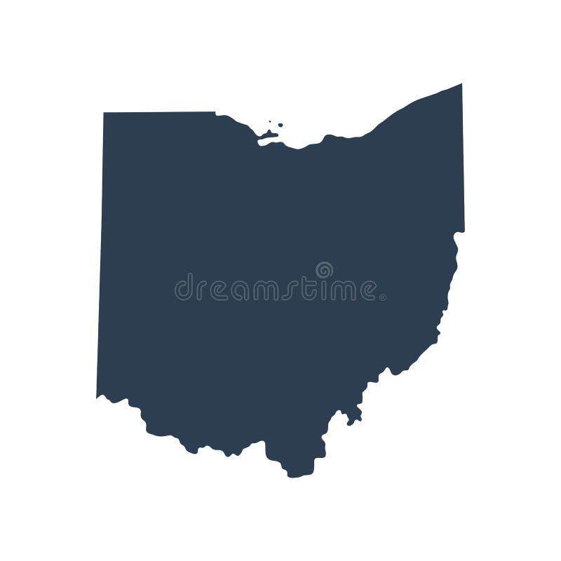 Kaart van U S Staat Ohio royalty-vrije illustratie