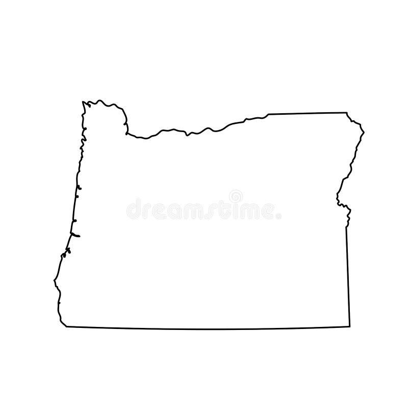 Kaart van U S Staat van Oregon royalty-vrije illustratie