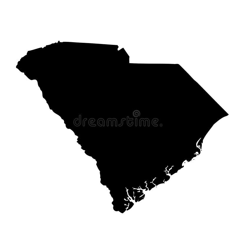 Kaart van U S van de Zuid- staat Carolina stock illustratie