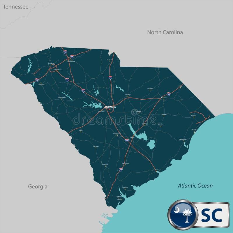Kaart van van de Zuid- staat Carolina, de V.S. vector illustratie