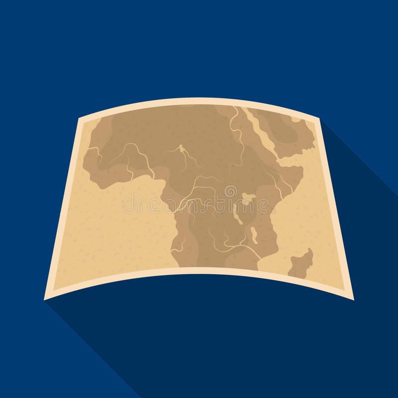 Kaart van vasteland Afrika Afrikaans safari enig pictogram in het vlakke Web van de de voorraadillustratie van het stijl vectorsy vector illustratie