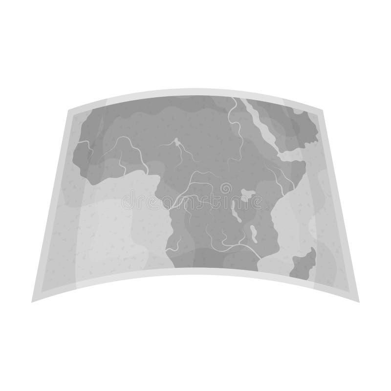 Kaart van vasteland Afrika Afrikaans safari enig pictogram in het zwart-wit Web van de de voorraadillustratie van het stijl vecto stock illustratie