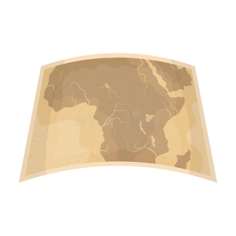 Kaart van vasteland Afrika Afrikaans safari enig pictogram in van de het symboolvoorraad van de beeldverhaalstijl vector de illus stock illustratie
