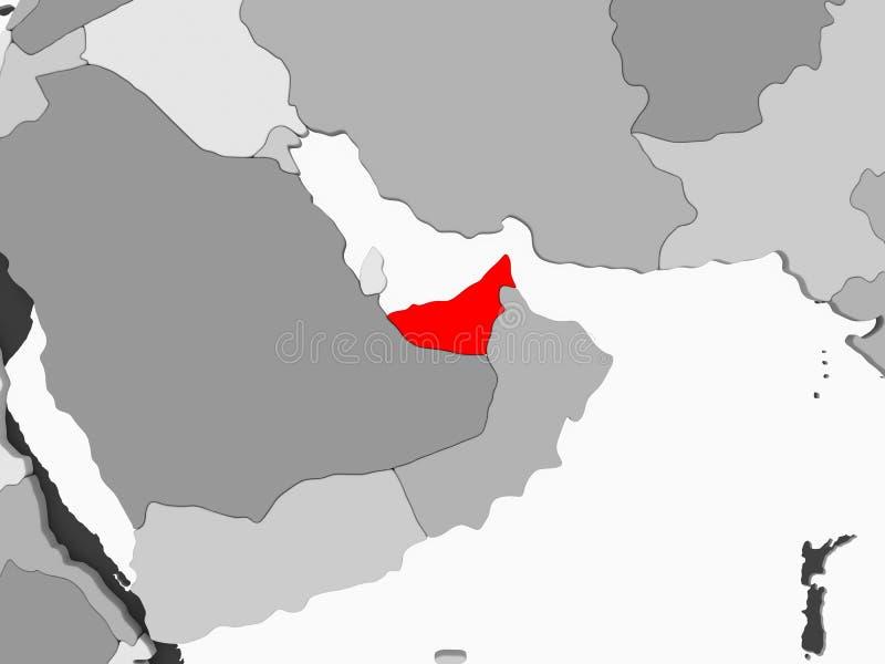 Kaart van Verenigde Arabische Emiraten royalty-vrije illustratie