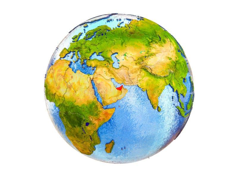 Kaart van Verenigde Arabische Emiraten op 3D geïsoleerde Aarde royalty-vrije stock foto