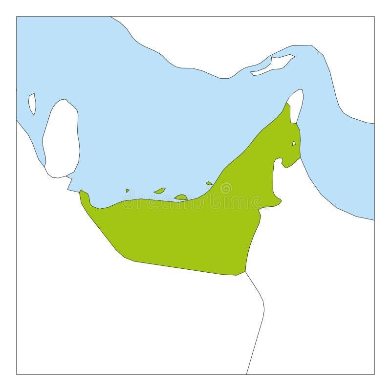 Kaart van Verenigde Arabische groene Emiraten benadrukt met buurlanden royalty-vrije illustratie