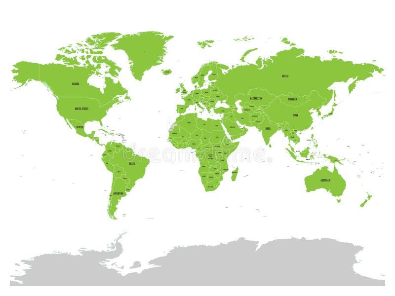 Kaart van Verenigde Natie met groene benadrukte lidstaten De V.N. zijn een intergouvernementele organisatie van internationale me royalty-vrije illustratie