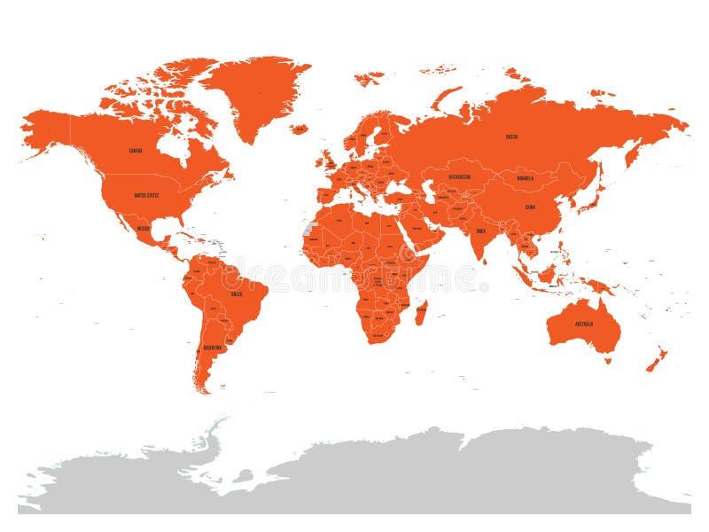 Kaart van Verenigde Natie met sinaasappel benadrukte lidstaten De V.N. zijn een intergouvernementele organisatie van internationa royalty-vrije illustratie
