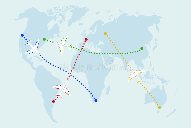 Kaart van vluchten vector illustratie