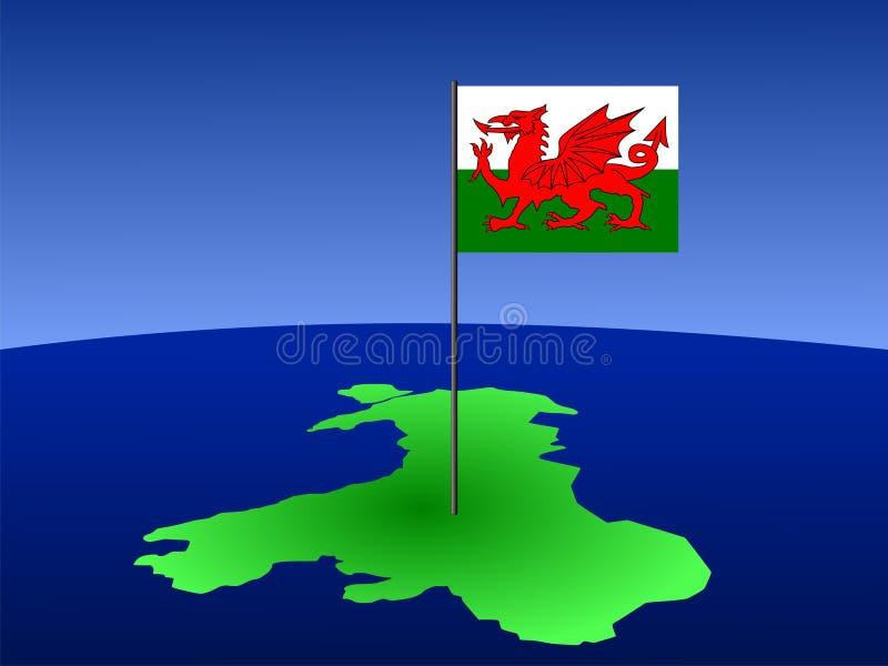Kaart van Wales met vlag royalty-vrije illustratie