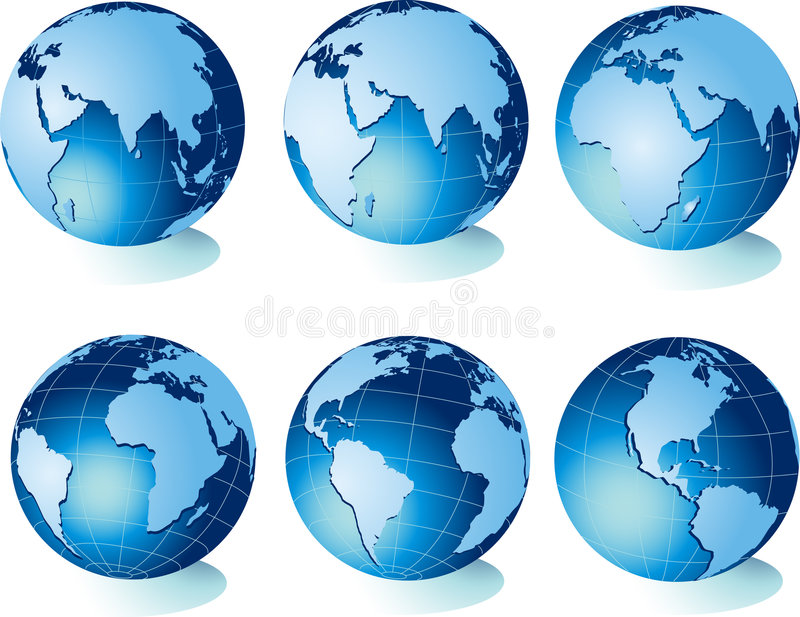 Kaart van wereld, bol vector illustratie